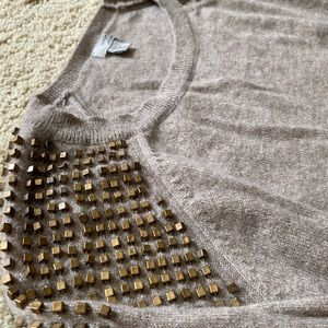 Halogen Cashmere Studded Shoulder Sweater